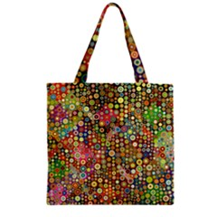 Multicolored Retro Spots Polka Dots Pattern Zipper Grocery Tote Bag by EDDArt