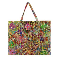 Multicolored Retro Spots Polka Dots Pattern Zipper Large Tote Bag by EDDArt