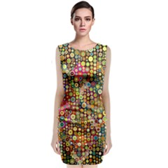 Multicolored Retro Spots Polka Dots Pattern Classic Sleeveless Midi Dress by EDDArt