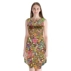 Multicolored Retro Spots Polka Dots Pattern Sleeveless Chiffon Dress   by EDDArt
