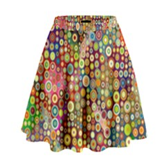 Multicolored Retro Spots Polka Dots Pattern High Waist Skirt by EDDArt