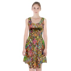 Multicolored Retro Spots Polka Dots Pattern Racerback Midi Dress by EDDArt