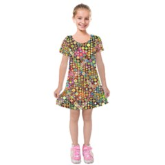 Multicolored Retro Spots Polka Dots Pattern Kids  Short Sleeve Velvet Dress by EDDArt