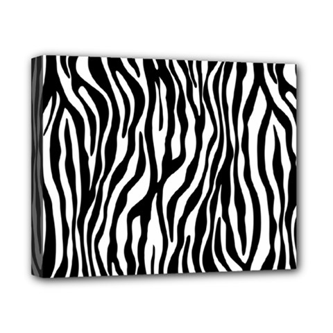 Zebra Stripes Pattern Traditional Colors Black White Canvas 10  X 8  by EDDArt