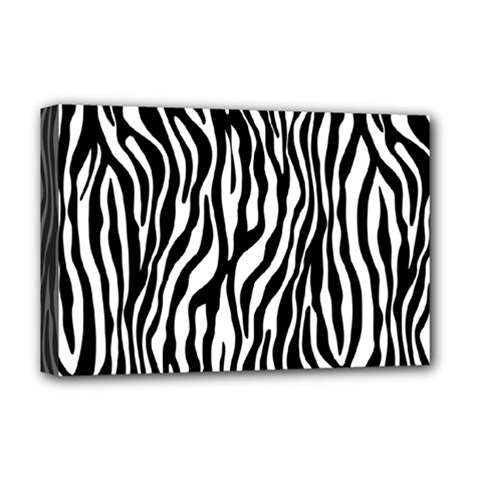 Zebra Stripes Pattern Traditional Colors Black White Deluxe Canvas 18  X 12   by EDDArt