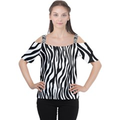 Zebra Stripes Pattern Traditional Colors Black White Women s Cutout Shoulder Tee by EDDArt