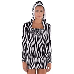 Zebra Stripes Pattern Traditional Colors Black White Women s Long Sleeve Hooded T-shirt by EDDArt