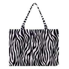 Zebra Stripes Pattern Traditional Colors Black White Medium Tote Bag by EDDArt