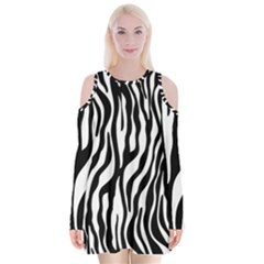 Zebra Stripes Pattern Traditional Colors Black White Velvet Long Sleeve Shoulder Cutout Dress by EDDArt