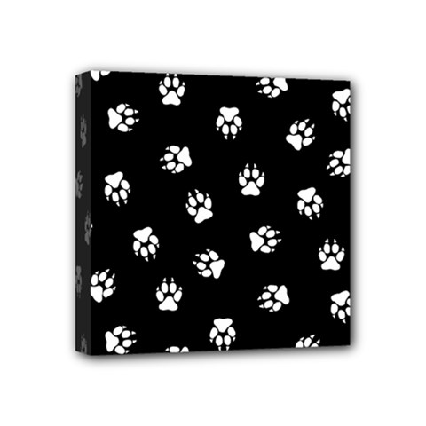 Footprints Dog White Black Mini Canvas 4  X 4  by EDDArt