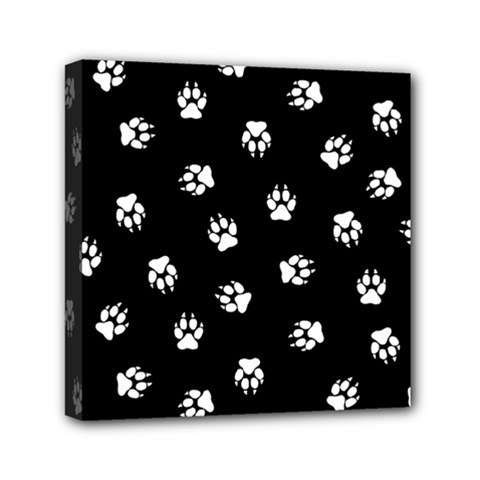 Footprints Dog White Black Mini Canvas 6  X 6  by EDDArt