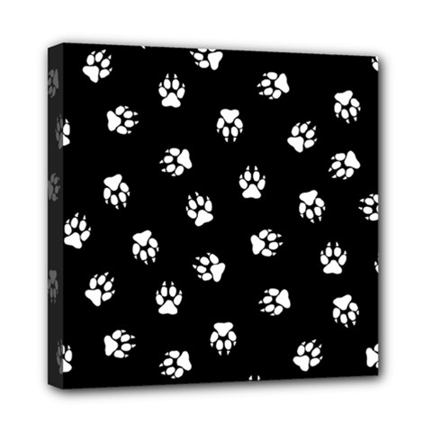 Footprints Dog White Black Mini Canvas 8  X 8  by EDDArt