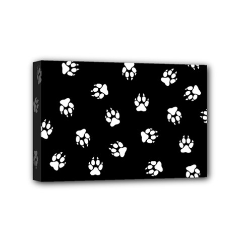 Footprints Dog White Black Mini Canvas 6  X 4  by EDDArt
