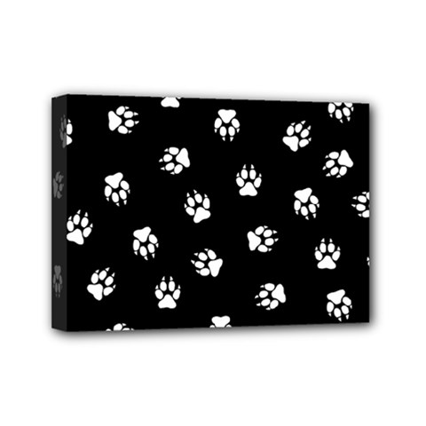 Footprints Dog White Black Mini Canvas 7  X 5  by EDDArt