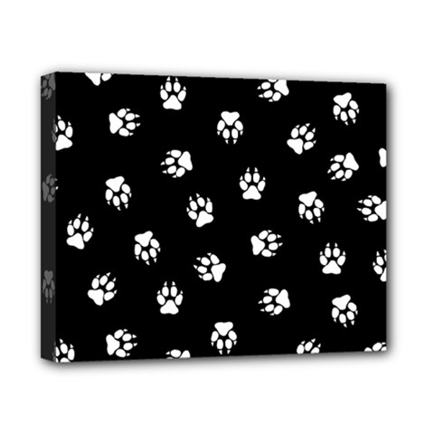 Footprints Dog White Black Canvas 10  X 8  by EDDArt