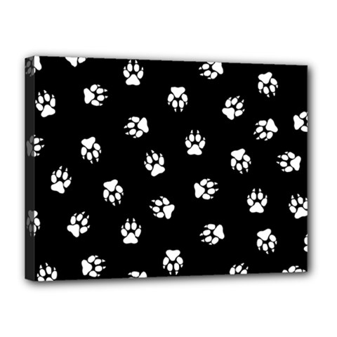 Footprints Dog White Black Canvas 16  X 12  by EDDArt