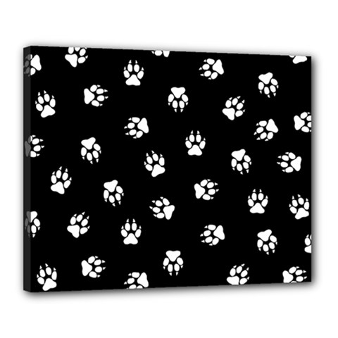 Footprints Dog White Black Canvas 20  X 16  by EDDArt