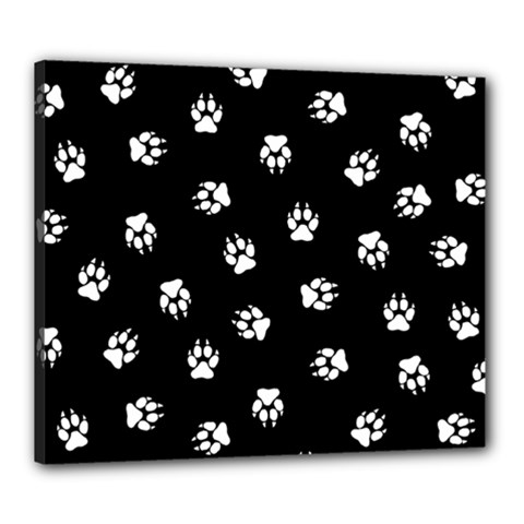 Footprints Dog White Black Canvas 24  X 20  by EDDArt