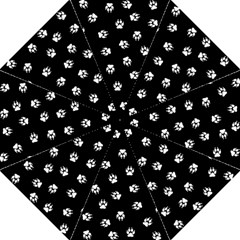 Footprints Dog White Black Straight Umbrellas by EDDArt