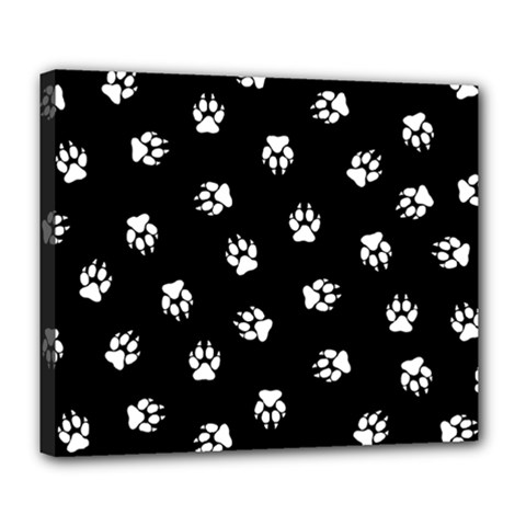 Footprints Dog White Black Deluxe Canvas 24  X 20   by EDDArt