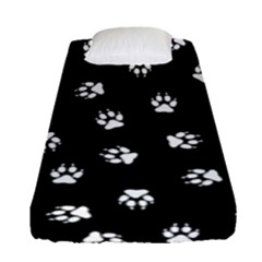 Footprints Dog White Black Fitted Sheet (single Size) by EDDArt
