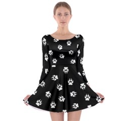 Footprints Dog White Black Long Sleeve Skater Dress by EDDArt