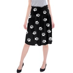 Footprints Dog White Black Midi Beach Skirt by EDDArt