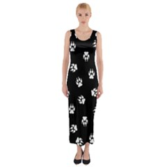 Footprints Dog White Black Fitted Maxi Dress by EDDArt