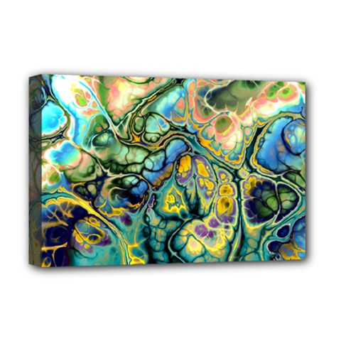 Flower Power Fractal Batik Teal Yellow Blue Salmon Deluxe Canvas 18  X 12   by EDDArt