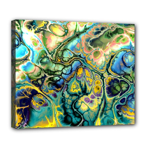Flower Power Fractal Batik Teal Yellow Blue Salmon Deluxe Canvas 24  X 20   by EDDArt