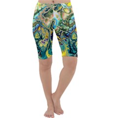 Flower Power Fractal Batik Teal Yellow Blue Salmon Cropped Leggings  by EDDArt