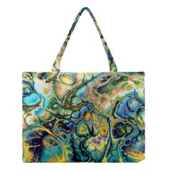Flower Power Fractal Batik Teal Yellow Blue Salmon Medium Tote Bag by EDDArt