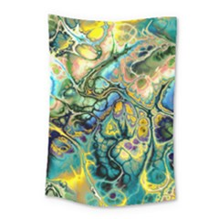 Flower Power Fractal Batik Teal Yellow Blue Salmon Small Tapestry by EDDArt