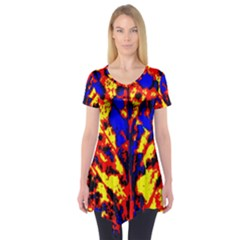Fire Tree Pop Art Short Sleeve Tunic  by Costasonlineshop