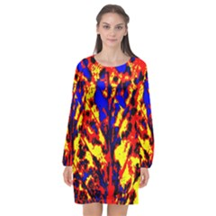 Fire Tree Pop Art Long Sleeve Chiffon Shift Dress  by Costasonlineshop