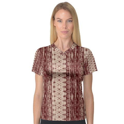 Wrinkly Batik Pattern Brown Beige Women s V-neck Sport Mesh Tee by EDDArt