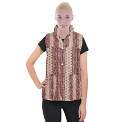 Wrinkly Batik Pattern Brown Beige Women s Button Up Puffer Vest by EDDArt