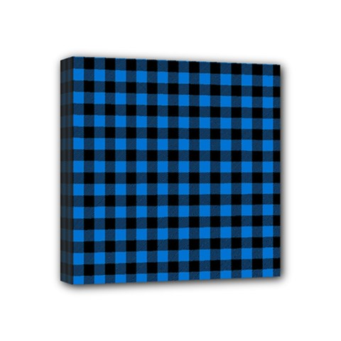 Lumberjack Fabric Pattern Blue Black Mini Canvas 4  X 4  by EDDArt