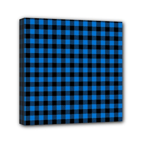 Lumberjack Fabric Pattern Blue Black Mini Canvas 6  X 6  by EDDArt