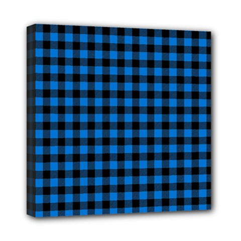 Lumberjack Fabric Pattern Blue Black Mini Canvas 8  X 8  by EDDArt