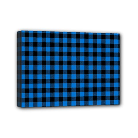 Lumberjack Fabric Pattern Blue Black Mini Canvas 7  X 5  by EDDArt