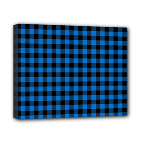 Lumberjack Fabric Pattern Blue Black Canvas 10  X 8  by EDDArt