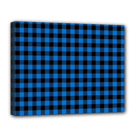 Lumberjack Fabric Pattern Blue Black Canvas 14  X 11  by EDDArt