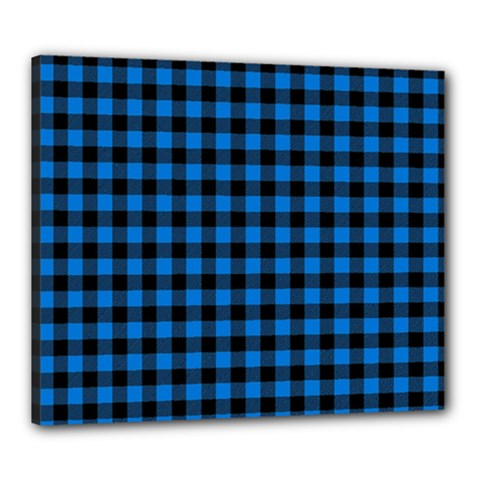 Lumberjack Fabric Pattern Blue Black Canvas 24  X 20  by EDDArt