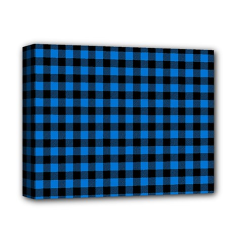 Lumberjack Fabric Pattern Blue Black Deluxe Canvas 14  X 11  by EDDArt