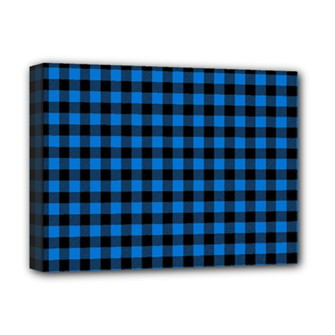Lumberjack Fabric Pattern Blue Black Deluxe Canvas 16  X 12   by EDDArt