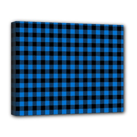Lumberjack Fabric Pattern Blue Black Deluxe Canvas 20  X 16   by EDDArt