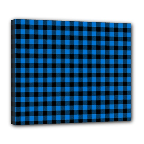 Lumberjack Fabric Pattern Blue Black Deluxe Canvas 24  X 20   by EDDArt