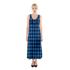 Lumberjack Fabric Pattern Blue Black Sleeveless Maxi Dress by EDDArt