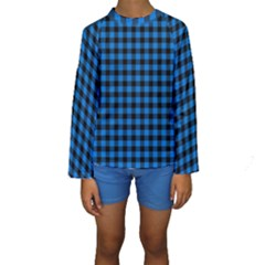 Lumberjack Fabric Pattern Blue Black Kids  Long Sleeve Swimwear by EDDArt